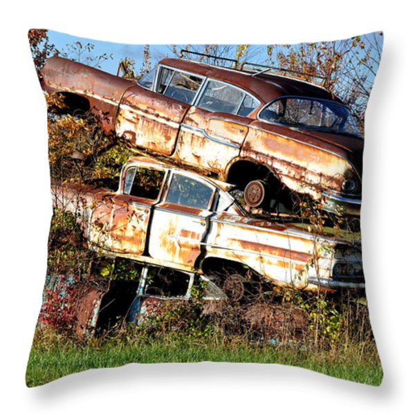 Stacking Them Up Throw Pillow by Jan Amiss Photography
