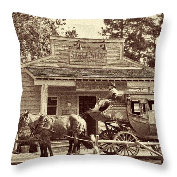 Stage Coach Stop - Jackson Hole Wy Throw Pillow by Christine Till