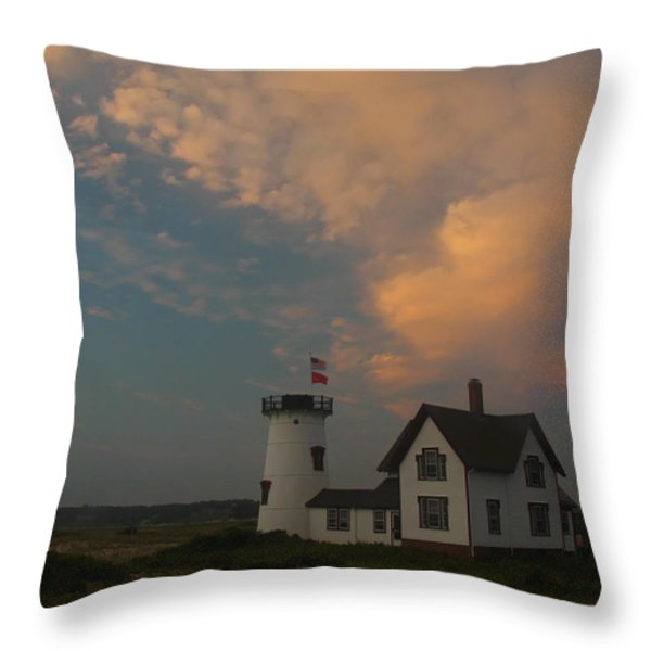 Stage Harbor Lighthouse Throw Pillow by Juergen Roth