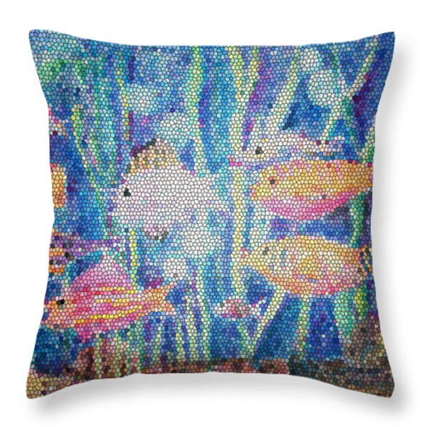 Stained Glass Fish Throw Pillow by Arline Wagner