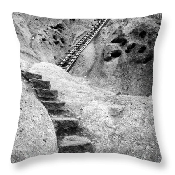 Stairways To The Kiva Throw Pillow by Sandra Bronstein
