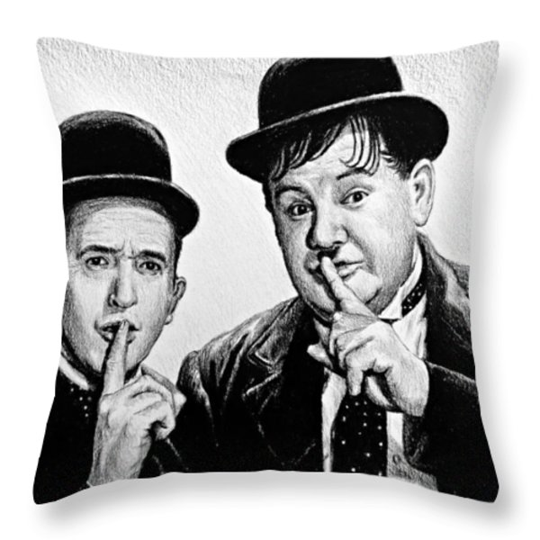 Stan And Ollie Throw Pillow by Andrew Read