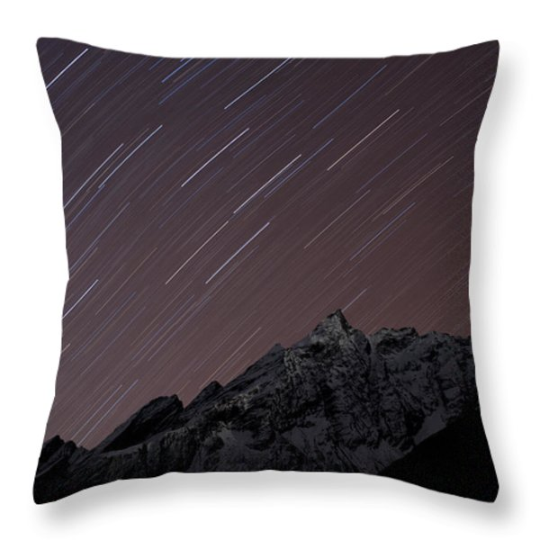 Star Trails Above Himal Chuli Created Throw Pillow by Alex Treadway