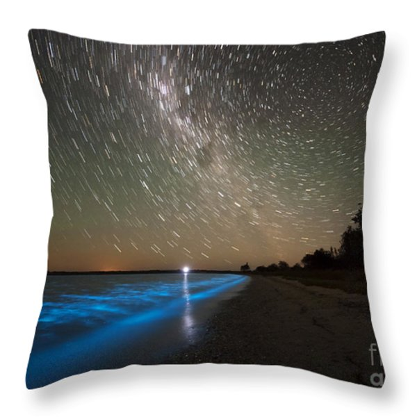 Star Trails And Bioluminescence Throw Pillow by Philip Hart
