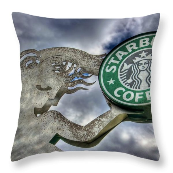 Starbucks Coffee Throw Pillow by Spencer McDonald