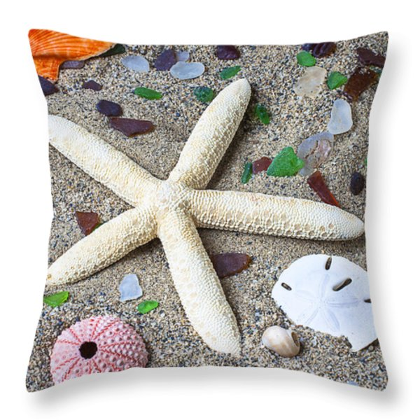 Starfish Beach Still Life Throw Pillow by Garry Gay