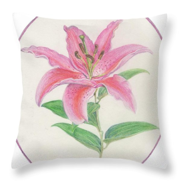 Stargazer Lily Throw Pillow by Joanna Aud