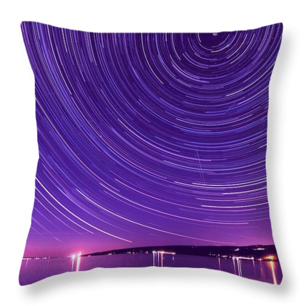 Starry night of Cayuga Lake Throw Pillow by Paul Ge