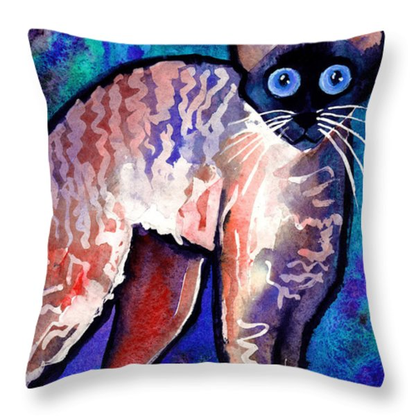 Startled Cornish Rex Cat Throw Pillow by Svetlana Novikova