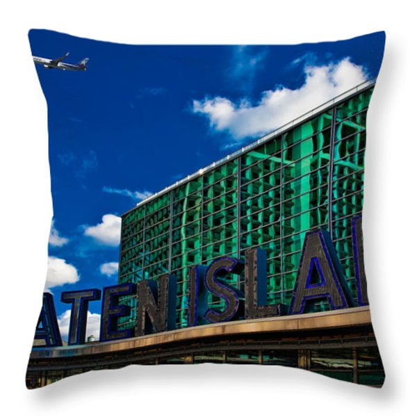 Staten Island Ferry Terminal Throw Pillow by Chris Lord