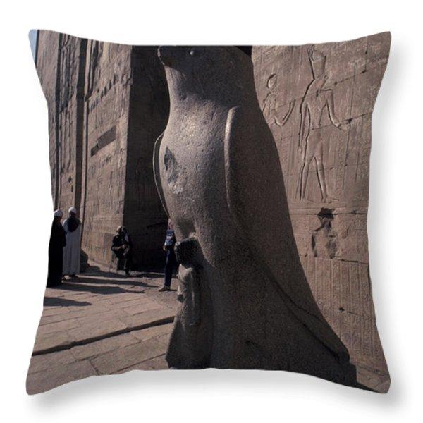 Statue Of The Bird God, Horus Throw Pillow by Richard Nowitz