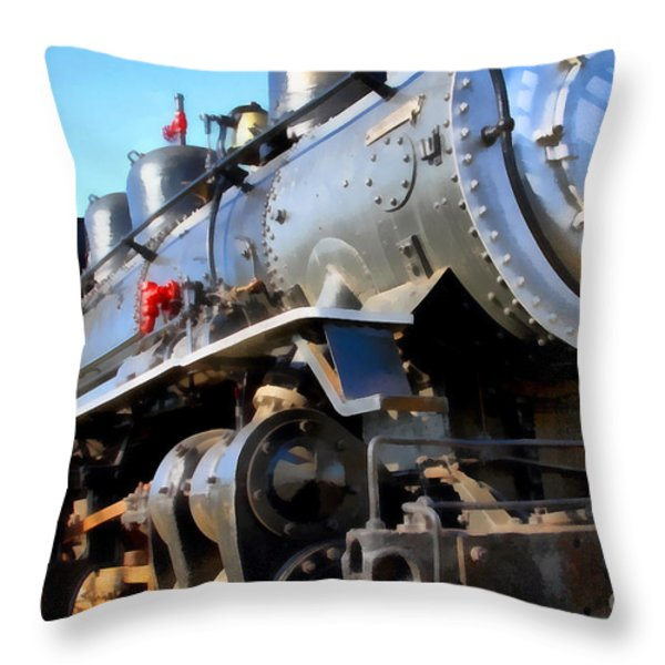 Steam Locomotive Engine 1215 . 7d12980 Throw Pillow by Wingsdomain Art and Photography