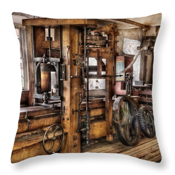Steam Punk - The Press Throw Pillow by Mike Savad