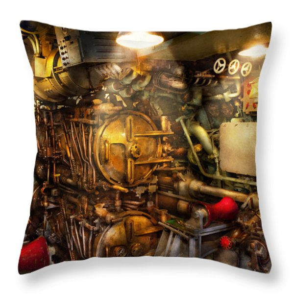 Steampunk - Naval - The Torpedo Room Throw Pillow by Mike Savad