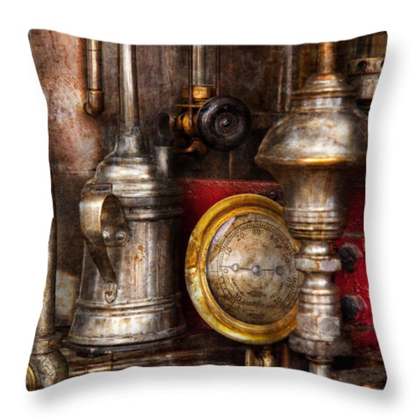 Steampunk - Needs oil Throw Pillow by Mike Savad