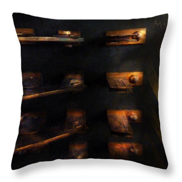 Steampunk - Pull the Switch Throw Pillow by Mike Savad