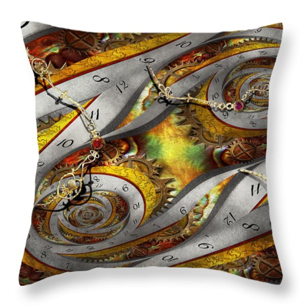 Steampunk - Spiral - Space time continuum Throw Pillow by Mike Savad
