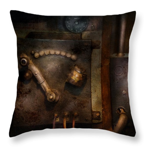 Steampunk - The Control Room  Throw Pillow by Mike Savad