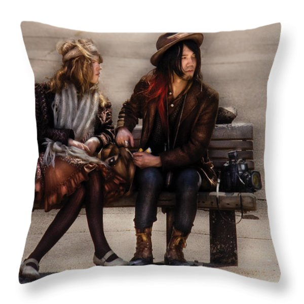 Steampunk - Time Travelers Throw Pillow by Mike Savad