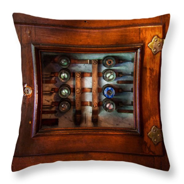 Steampunk - Electrical - The fuse panel Throw Pillow by Mike Savad