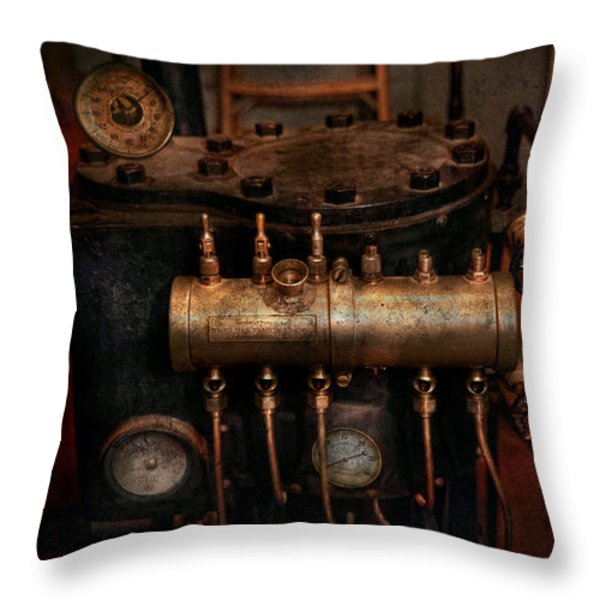Steampunk - Plumbing - The valve matrix Throw Pillow by Mike Savad