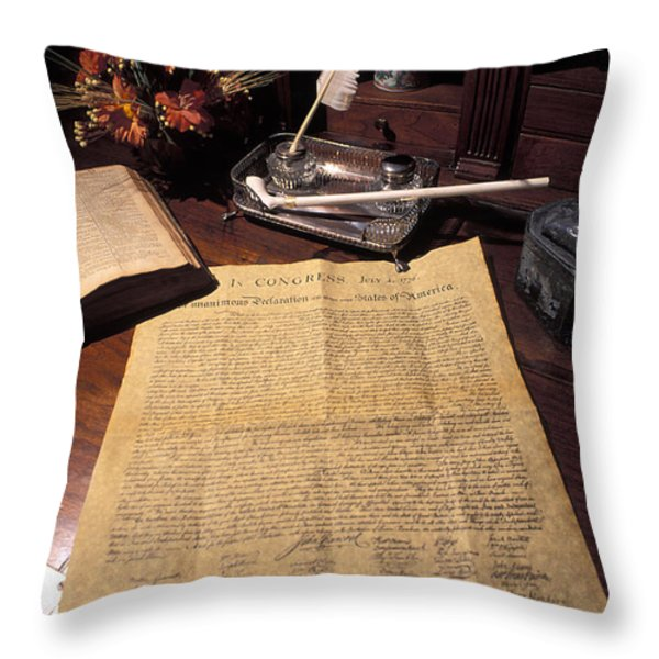 Still Life Of A Copy Of The Declaration Throw Pillow by Richard Nowitz
