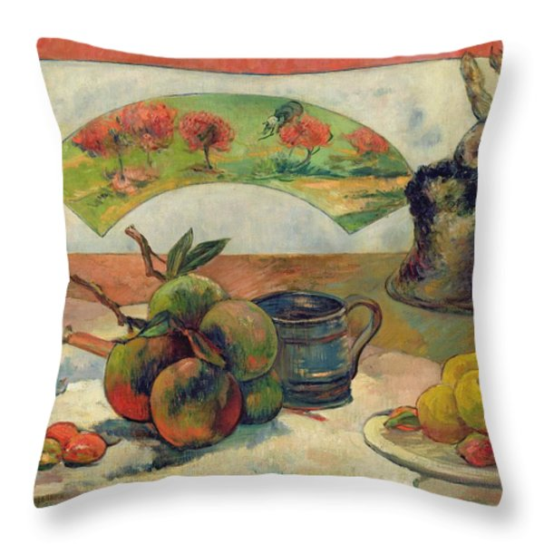 Still Life With A Fan Throw Pillow by Paul Gauguin