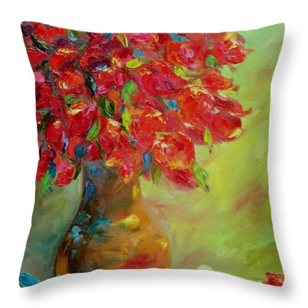 Still Life With Flowers Throw Pillow by Chris Brandley
