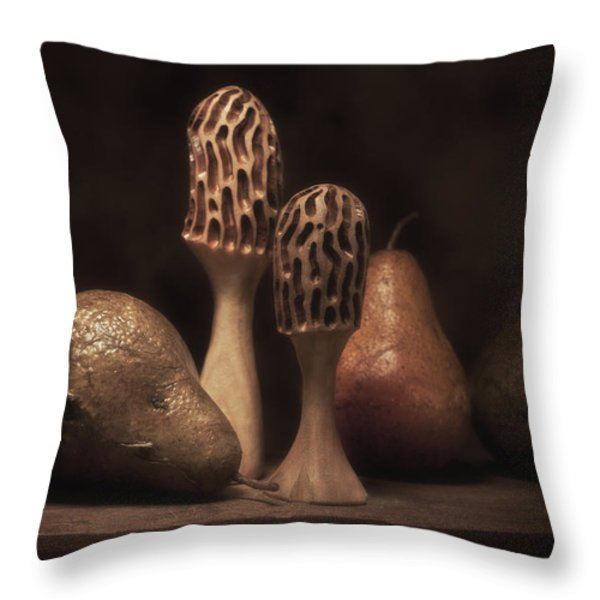 Still Life with Mushrooms and Pears II Throw Pillow by Tom Mc Nemar
