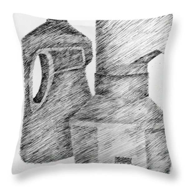 Still Life With Popcorn Maker And Laundry Soap Bottle Throw Pillow by Michelle Calkins