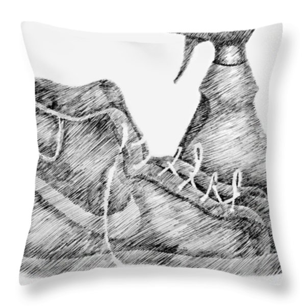 Still Life with Shoe and Spray Bottle Throw Pillow by Michelle Calkins