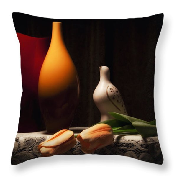 Still Life with Vases and Tulips Throw Pillow by Tom Mc Nemar