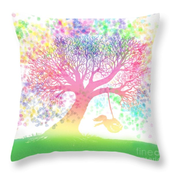 Still More Rainbow Tree Dreams 2 Throw Pillow by Nick Gustafson