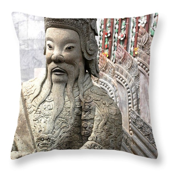 Stone Statue Of A God At The Grand Throw Pillow by Anne Keiser