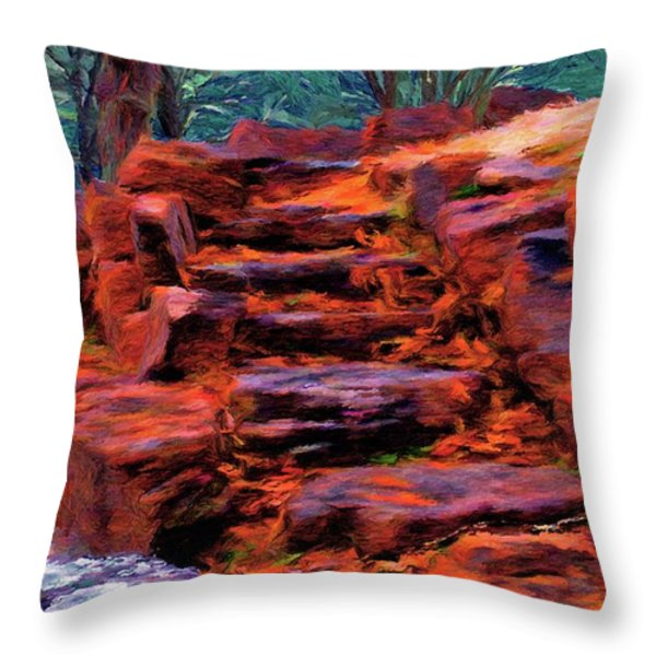 Stone Steps in Autumn Throw Pillow by Jeff Kolker