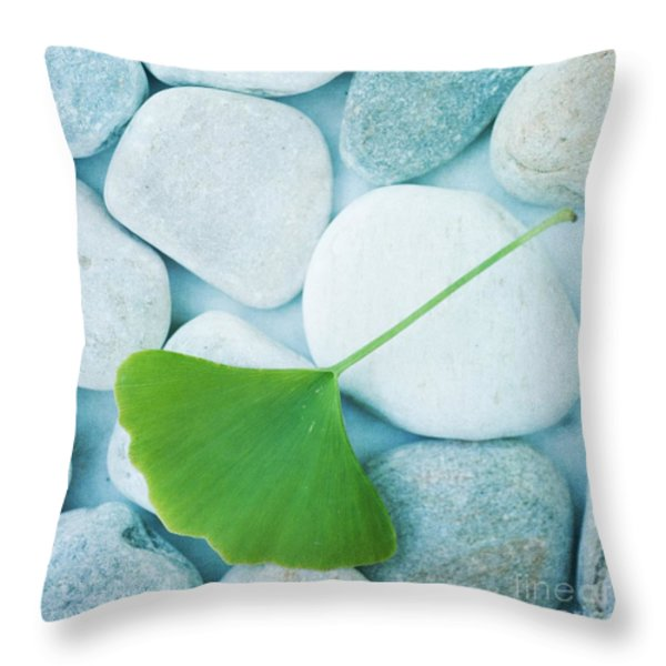 stones and a gingko leaf Throw Pillow by Priska Wettstein