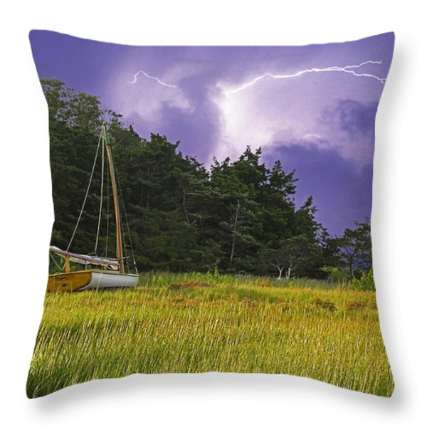 Storm Over Knott's Island Throw Pillow by Charles Harden