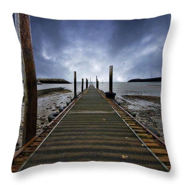 stormy jetty Throw Pillow by Meirion Matthias