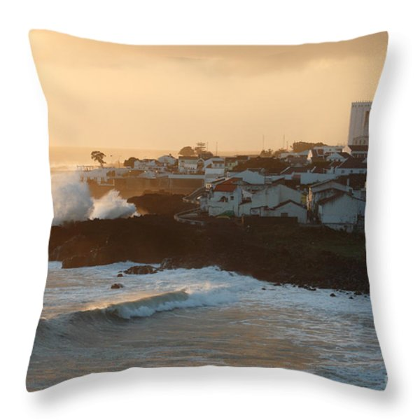 Stormy weather in Azores Throw Pillow by Gaspar Avila