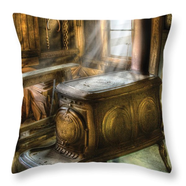 Stove - A Warm Cozy Stove Throw Pillow by Mike Savad