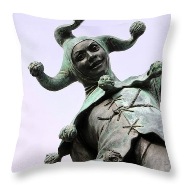 Stratford's Jester Statue Throw Pillow by Terri  Waters