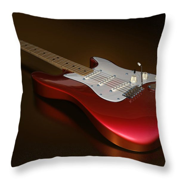 Stratocaster On A Golden Floor Throw Pillow by James Barnes