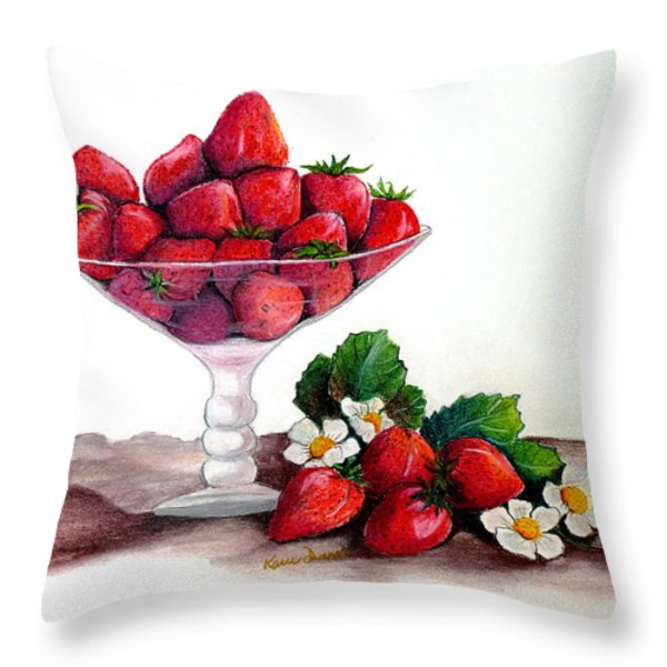 STRAWBERRIES  Throw Pillow by KARIN KELSHALL- BEST