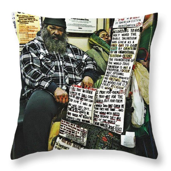 Street Preacher On The A Train Throw Pillow by Sarah Loft