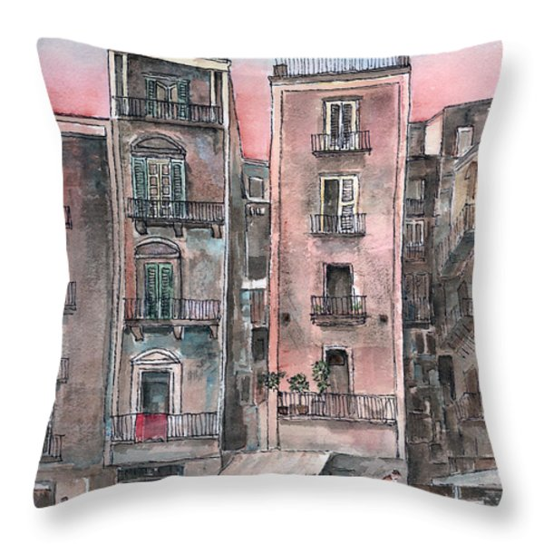 Street Scene At Twilight Throw Pillow by Arline Wagner