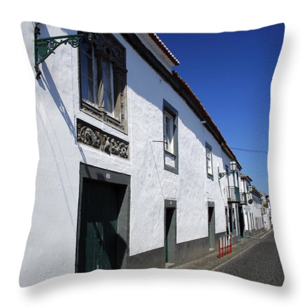 Streets Of Ribeira Grande Throw Pillow by Gaspar Avila