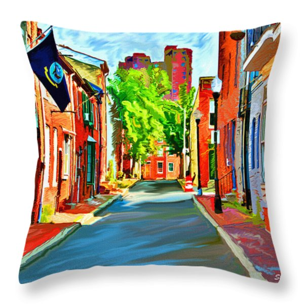 Streetscape in Federal Hill Throw Pillow by Stephen Younts