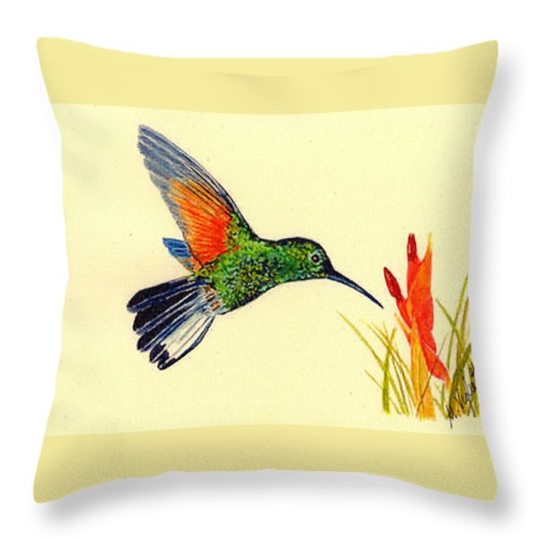 Stripe Tailed Hummingbird Throw Pillow by Michael Vigliotti