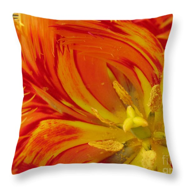 Striped Parrot Tulips. Olympic Flame Throw Pillow by Ausra Paulauskaite
