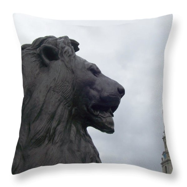 Strong Lion Throw Pillow by Mary Mikawoz